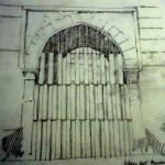 Croquis cerramiento puerta del Torreón del Puente de Barcas: Baño de la Cava